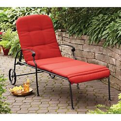 Outdoor Chaise Lounge Chair Pool Wheels Padded Lounger Garden Patio Furniture