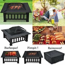 Fire Pit Table Outdoor Camping Wood Burning Portable Grill Patio Furniture New