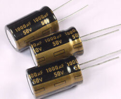 8pcs 1000uF 50v 105C Radial Electrolytic Gold Capacitor Low ESR 16mm X 26mm