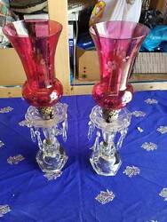 2 VINTAGE LAMPS POSSIBLY RED DEPRESSION 100% Working $79.95