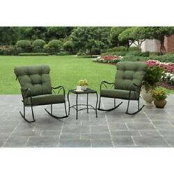 Outdoor Patio Furniture Bistro Set 3 Piece Garden Rocking Chairs Deck Chat Table