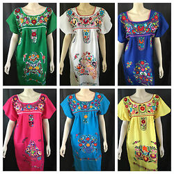 ANY COLOR PEASANT VINTAGE TUNIC EMBROIDERED MEXICAN DRESS S M L XL XXL PLUS SIZE $27.99