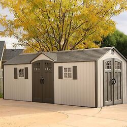 Lifetime 20' x 8' Garden Building Shed With Skylights Windows And Shelves