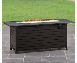 Outdoor Fire Pit Table Patio Gas Propane Rectangular Heater Backyard
