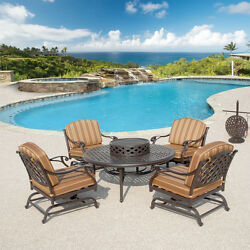 6Pc Outdoor Patio Set Garden Furniture Table 4-Chairs Fire Pit Grill Ice Bucket