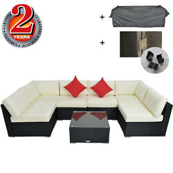 Outdoor Furniture Patio Wicker Sectional Sofa Cushioned with Rain Cover Outime