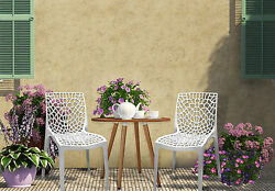 Indoor Outdoor Patio Chairs Set Of 4 White Stackable Dining Cafe Garden Porch