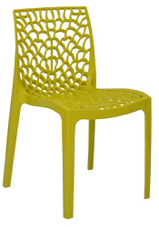 Patio Chairs Indoor Outdoor Set Of 4 Yellow Stackable Dining Cafe Garden Porch
