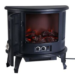 Black Classic Semi-Circle Free Standing Electric Fireplace Heater Dancing Flame