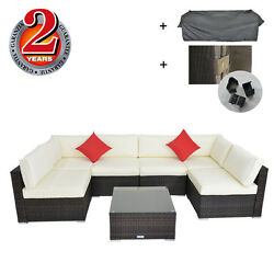Outdoor Furniture Patio Wicker Sectional Sofa Cushioned with Rain Cover Clips