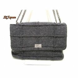 Used[D] CHANEL BagPurse Women Shoulder bag DARK GRAY wool D0G