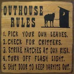 Outhouse Rules Country Western Rustic Primitive Canvas Sign Home Decor $14.99