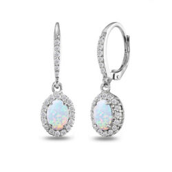 925 Silver Simulated Opal Oval Dangle Halo  Earrings with White Topaz Accents