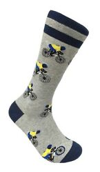 The Racer Bicycle Bike Cycle FineFit Mens Fun Novelty Socks Dress SOX Sz 10 13 $10.49