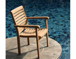 Qty 2 - Hari A-Grade Teak Wood Dining Stacking Arm Chair Pair Outdoor Furniture
