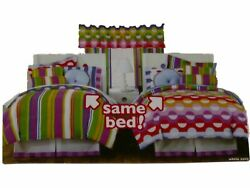 Little Miss Matched Full Bed in a Bag Dots & Stripes Comforter Set Sheets 8 pc