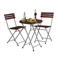 Wooden Garden Furniture Set 3 Pieces Folding Table & 2 Chairs Patio Seating