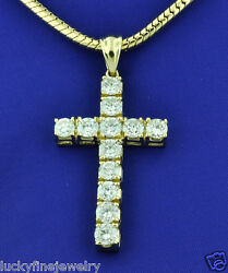 3.50 ct 14k Solid Yellow Gold Natural Diamond Cross Pendant Huge made in USA