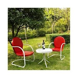 3 PC ChairsTable Set Metal Retro 50s Style Outdoor Lawn Porch Patio Furniture