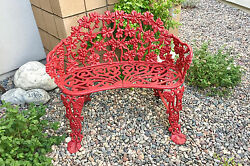 Vintage Red Cast Iron Grape Vine Leaf Patio Garden Bench • 99% Mint!