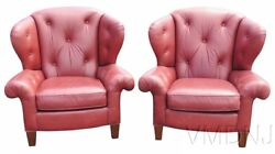 VMD1229-Pair Red Leather Tufted Wing Chairs