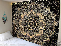 30 Item Black Gold Indian Mandala Cotton Bohemian Ombre Tapestry Boho Home Decor