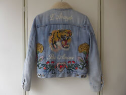 GUCCI Tiger Butterfly Rose Embroidered Denim Mouton Shearling Coat Jacket 40