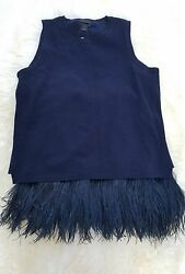 NWT J.CREW Collection Navy Italian Cashmere Feather Shell Top Size L E8784