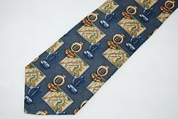 Field & Stream Blue Wilderness Map Compass 100% Silk Neck Tie