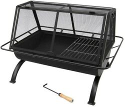 Outdoor Wood Burning Fireplace Cooking Grill Camping Cook Dinner Fire Cooler
