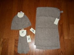 NWT Max Studio 100% Cashmere Ash Brown Scarf Gloves and Cap Set 3pc