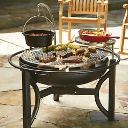 Firepit Cowboy Grill - Nickel Plated 725 sq in Surface Warming Rack