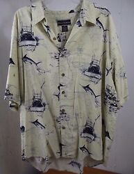 Field & Stream Mens Button Down Silk Blend Shirt XX-Large Fishing Pattern  XXL
