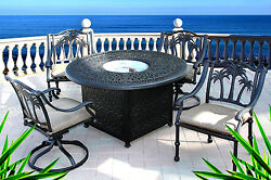Propane Fire Pit Outdoor Dining Set 5pc Cast Aluminum Patio Palm Tree Chairs
