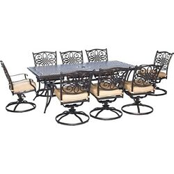 Hanover - Traditions 9-Piece Dinning Set with Swivel Chairs Outdoor Furnitur...