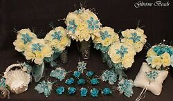 Bridal Bouquet Wedding Flower Turquoise Teal 25 PC Package Rose BEADED LILY