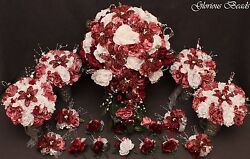 Bridal Cascading Bouquet Wedding Flower Burgundy 18 PC package BEADED Lily Rose