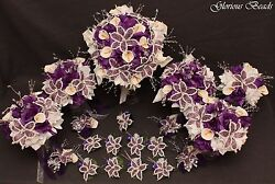 Bridal Bouquet Wedding Flower PURPLE Package 19 PC BEADED LILY with Calla Lilies