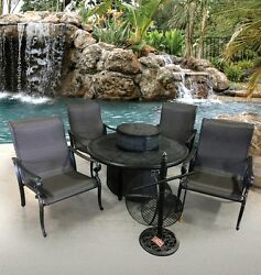 Outdoor Patio Furniture Set Garden Poolside Fire Pit Grill 4 Chairs Ice Bucket