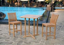 3Pc Outdoor Patio Furniture Teak Bar Set 2 Armless Chairs Table Deck Poolside