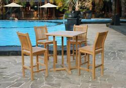 Outdoor Patio Furniture 5 Pc Teak Bar Set 2 Armless Chairs Table Deck Poolside