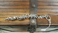 Bill Wall Leather Sterling Silver Alligator Bracelet with Good Luck Skulls