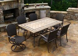 Outdoor 7Pc Wicker Patio Dining Set Stone Table Chair Swivel Rocker Deck Garden