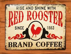 TIN SIGN quot;Old Red Rooster Coffeequot; Kitchen Chicken Rustic Wall Decor $15.95