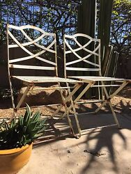 ANTIQUE FOLDING FRENCH BISTRO CHAIRS HEAVY IRON GARDEN CHAIRS   SET OF 2
