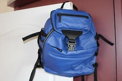 ALEXANDER MQUEEN MENS BACKPACK IN BLUE LEATHER NWT.$2195 RTL.MADE IN ITALY