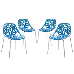 Set Of 4 Stencil Nature-inspired Dining Side Chair With Chrome Legs Blue