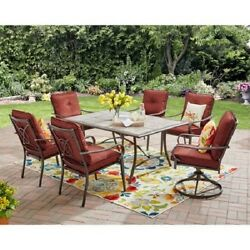 7 Piece Patio Dining Set Outdoor Metal Swivel Chairs Red Garden Furniture