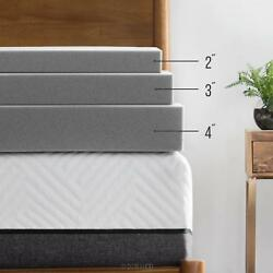 LUCID Bamboo Charcoal Memory Foam Mattress Topper - 234 Inch Options Available