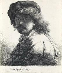 REMBRANDT VAN RIJN Self Portrait in a Cap and Scarf with the Face Dar... Lot 116